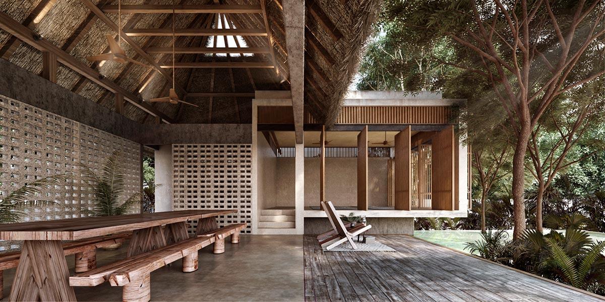 Dining area and patio at Jungle Keva Tulum